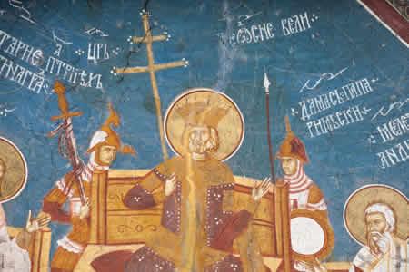 Император Феодосий Великий на II Вселенском Соборе. Фреска в сербском монастыре Высокие Дечаны, XIV век