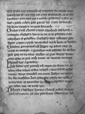 Y Gododdin (факсимильная страница).