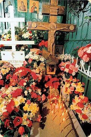 St. Matrona's grave in the Danilov cemetery.
