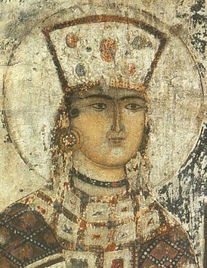 Святая благоверная царица Тамара. Фреска в монастыре Вардзиа
