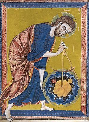 Сотворение мира. Средневековая книжная миниатюра. Франция, XIII в.