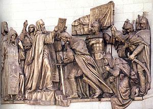 Северный фасад Храма Христа Спасителя. Благословение св. Димитрия Донского перед битвой прп. Сергием.