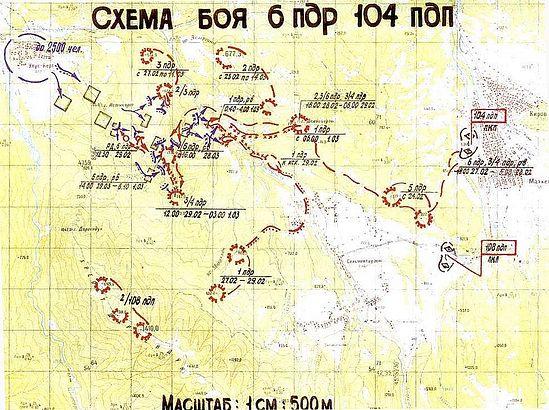 Схема боя 6 ПДР 29 февраля – 1марта 2000 года