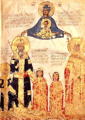 Мануиль II и его семья, 1403-5 г. Музей Лувр, Париж