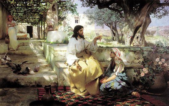 Христос у Марфы и Марии. (Семирадский Г.И., 1886г., масло)