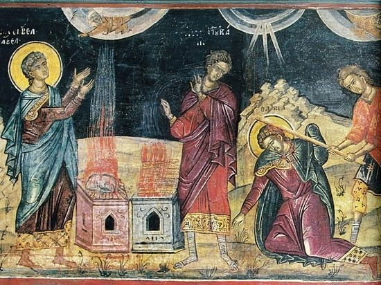 Жертва прав. Авеля и Каина. Афон (Дионисиат). 1547 г.