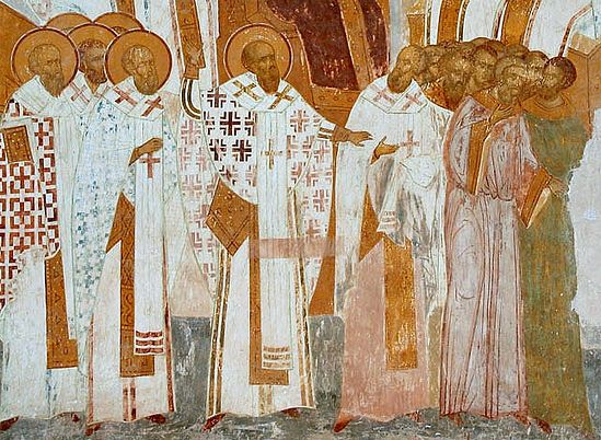 Anathamatization of Nestorius at the Third Ecumenical Council. A fresco by Dionsysius. 1502 г.