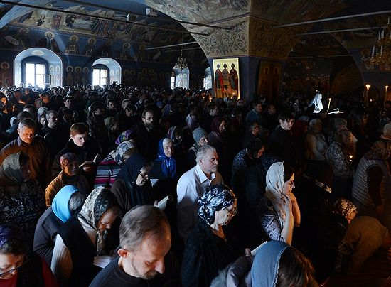 Чтение Великого покаянного канона. Новоспасский монастырь. Фото: Патриархия.Ru