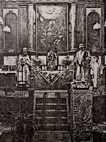 Богослужения для детей приюта А.А. Кузьминой-Караваевой проходили в католическом храме в Глене, близ Льежа. Фото до 1929 г. Архив русской эмиграции