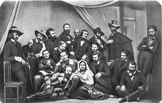 С.Левицкий. Гоголь в группе русских художников в Риме. 1845 г.