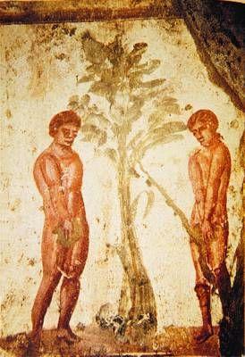 Адам и Ева. Роспись в катакомбах святых Петра и Марцеллина в Риме. 2-я пол. III - 1-я пол. IV в.