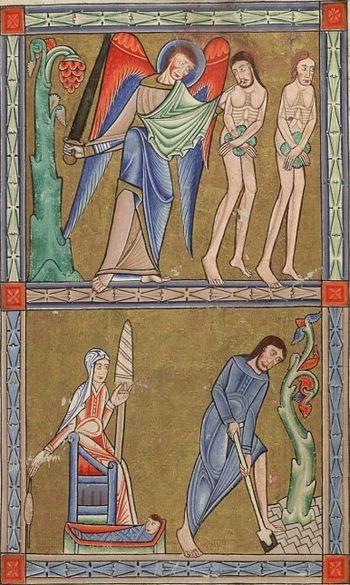 Изгнание из рая. Миниатюра из Псалтири Хантера - английской рукописи XII в.