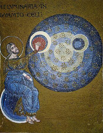Сотворение мира, Кафедральный собор Монреале, Италия, мозаика XII в.