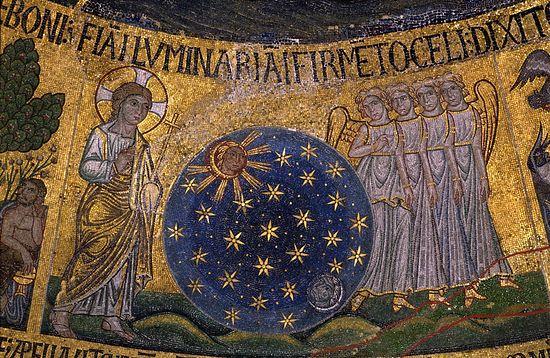 Сотворение светил (Быт. 1, 14-18) (Сотворение мира). Собор Святого Марка; Венеция, XIII в..
