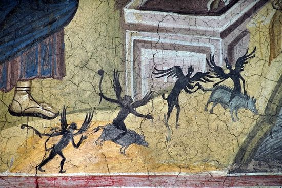 Исцеление Гадаринских бесноватых. XIV в. Фрагмент фрески