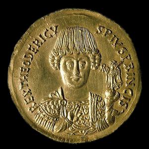 Прижизненное изображение Теодориха Великого на тремиссе.