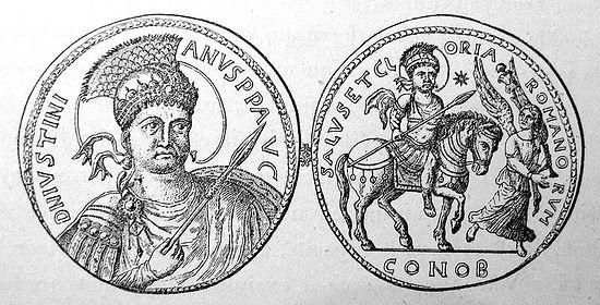 Византийская монета с изображением статуи Юстиниана