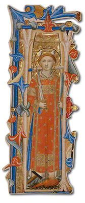 Initial I: A Martyr Saint. Cutting from an antiphonal, Lippo Vanni, about 1350–75