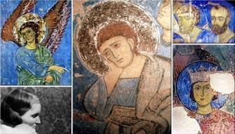 На коллаже: грузинские фрески XII века, которые расчищала, отмывала и реставрировала впервые Екатерина Александровна Домбровская