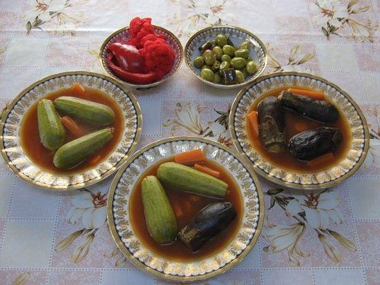 Суп из фаршированных кабачков и баклажан