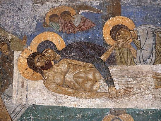 Lamentation of Christ. Fresco from the monastery in Nerezi, Macedonia, XII century