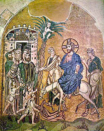 The Entry of the Lord into Jerusalem. Byzantine fresco.