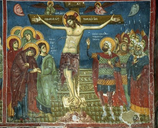 Great and Holy Friday. Crucifixion. The fresco from the church of St. Nicholas in Prilep, Macedonia. XII-XIII century.