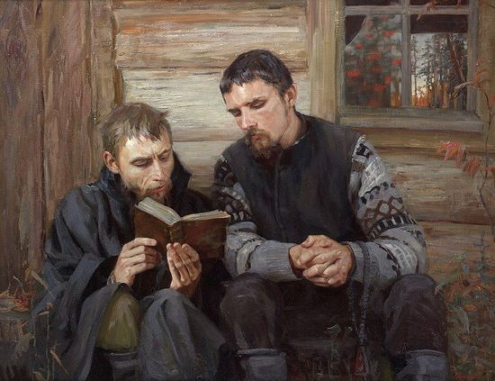 Old Believers. An oil painting by Tatiana Yushmanova.