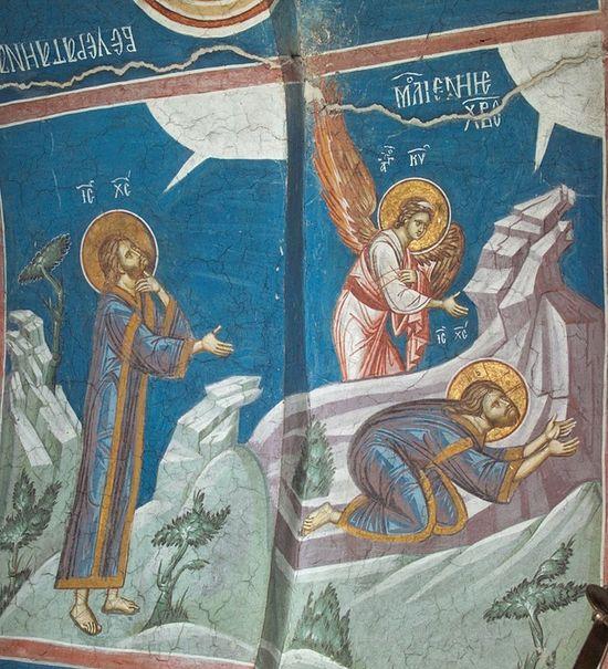 Моление о Чаше, фрагмент фрески. Монастырь Высокие Дечаны, Сербия, Косово. Неф. XIV в.