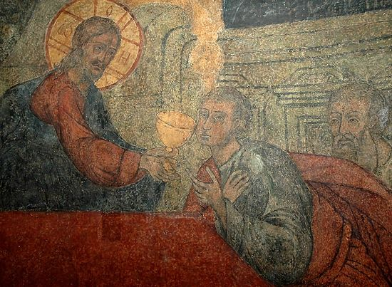 Christ communing the apostles. Fresco in the church of the Vladimir icon of the Mother of God, Sretensky Monastery.