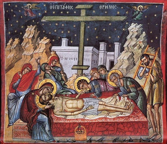 Великая Пятница. Оплакивание Христа. Фреска монастыря Дионисиат, Афон. Сер. XVI в.