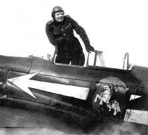 Генерал-майор Г.Н. Захаров в кабине своего Як-3. Весна 1945 г.