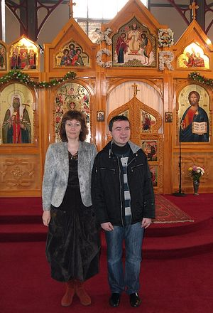 Dmitry Lapa and his mother. Colchester, Essex, in the church of St. John of Shanghai