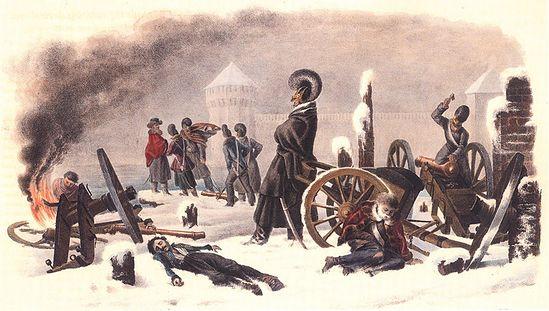 В пригороде Смоленска, на правом берегу Днепра, 31 октября (12 ноября) 1812 г. Художник Х.В. Фабер дю Фор. 1830-е гг.