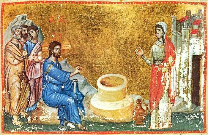 Христос и Самарянка. Миниатюра XIII в. Иверский монастырь, Афон