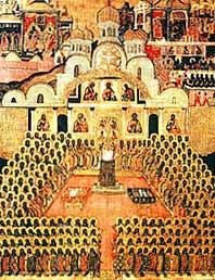 Седьмой Вселенский Собор. Икона XVIIв. Новодевичий монастырь.