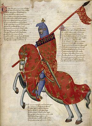 Рыцарь на коне. Средневековая миниатюра