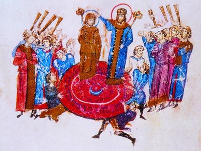 Патриарх Никифор I венчает на царство Михаила I Рангаве. Миниатюра из Хроники Иоанна Скилицы. XII в.