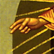 2. Christ blessing with His right hand those who are witnessing His glorious Ascension into heaven (detail).