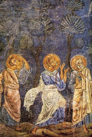 The Ascension of the Lord. Fragment of a fresco. Ohrid, the Hagia Sophia, XI century