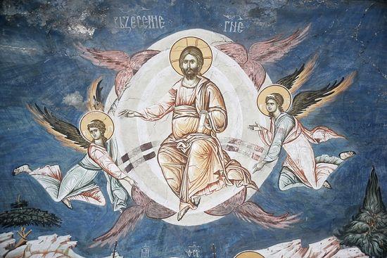 Ascension. Fragment of a fresco. Kosovo Pec Monastery.