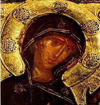 Лик Пресвятой Богородицы на иконе «Агиосоритисса». Фрагмент