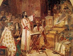 """V. Surikov """"First Ecumenical Council."""" Sketch for the painting of the Cathedral of Christ the Saviour (1876)"""