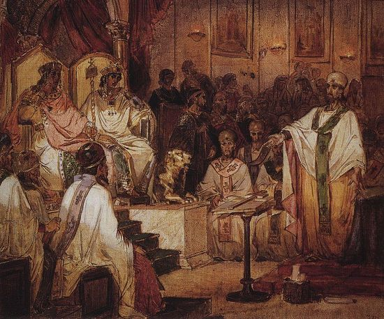 Fourth Ecumenical Council of Chalcedon. V.Surikov. Russian Museum, St. Petersburg, Russia