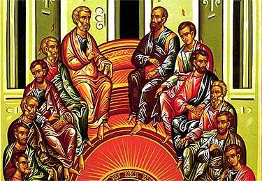 3. The Apostles in the upper room being filled with the Holy Spirit.