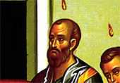 4. Saint Paul, who was not present on the day of Pentecost, is included amongst the twelve (detail).