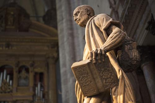 Статуя апостола Варфоломея со снятой кожей.