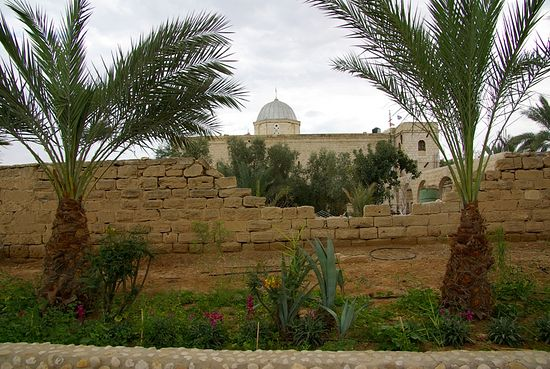 Oasis in the desert - a view of the Monastery of Saint Gerasimos of Jordan.