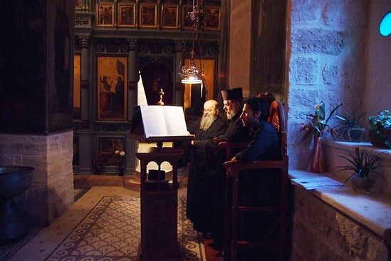 At the church services in the Monastery of St. Gerasim of the Jordan.