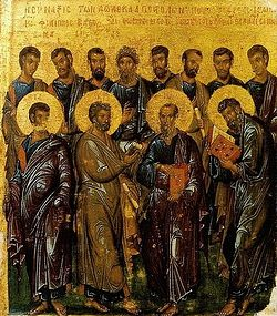 The Synaxis of the holy and the most praiseworthy Twelve Apostles. Byzantine icon, the beginning of the XIV century